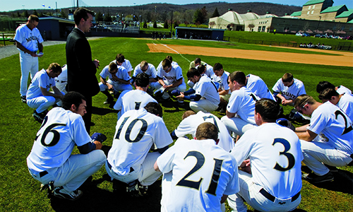 a Mount seminarian serves as the baseball team chaplain